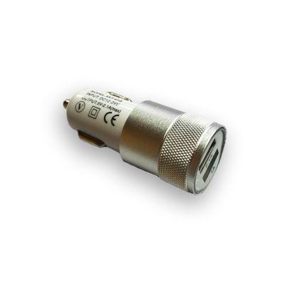 Автомобильное зарядное устройство на 2 USB, алюминий, серебряный