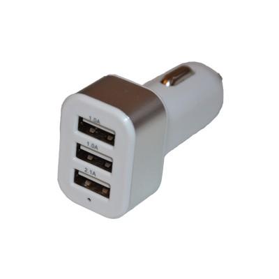 Автомобильное зарядное устройство на 3 USB, пластик, серебряный