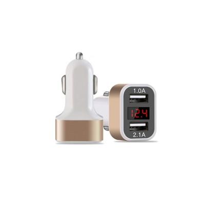 Автомобильное зарядное устройство на 2 USB, индикатор напряжения, пластик, золотой