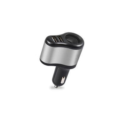 Автомобильное зарядное устройство разветвитель, 2 USB, черный/серебряный