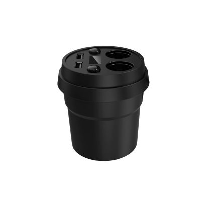 Автомобильное зарядное устройство-стакан 2x-разветвитель, 2 USB, индикатор напряжения, черный